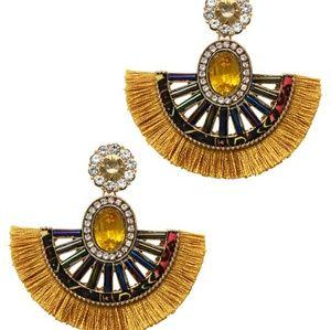 Crystal Bold Color Fan Earrings